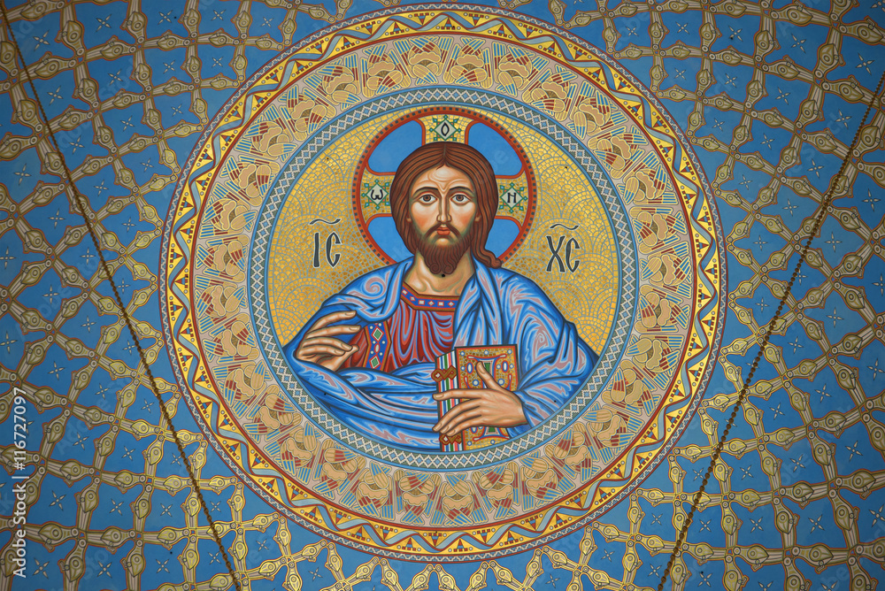 Fototapety, obrazy: The image of Jesus Christ on the inside of the dome in the St. Nicholas naval Cathedral. Kronstadt