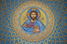 The Image Of Jesus Christ On The Inside Of The Dome In The St. Nicholas Naval Cathedral. Kronstadt