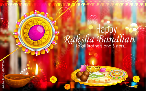 Photo  Decorated puja thali with rakhi for Raksha Bandhan