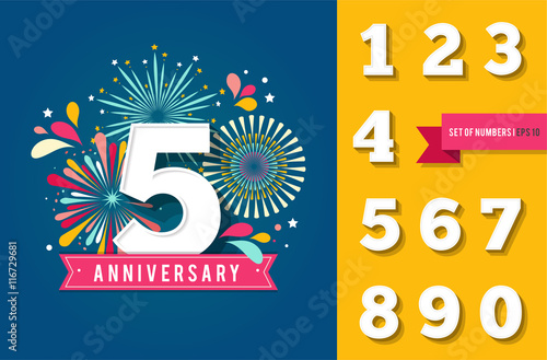 Fototapeta Anniversary fireworks and celebration background, set of numbers