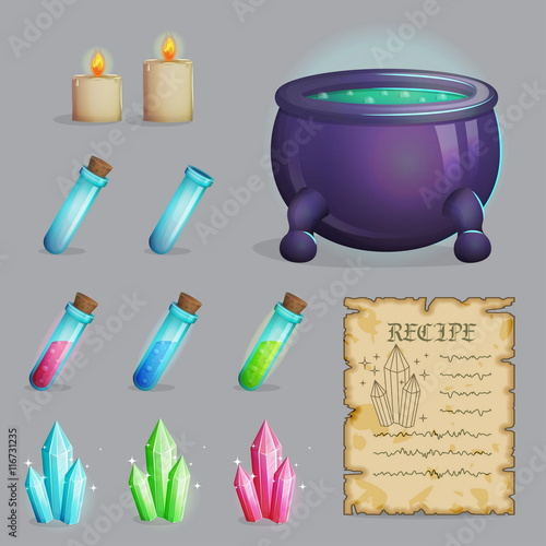 Collection of items to brew a magic potion  Witch