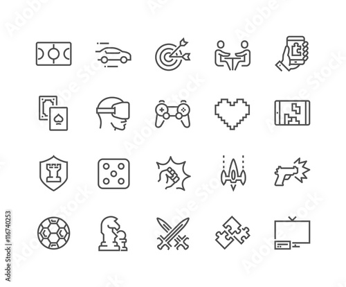 Line Games Icons Wall mural