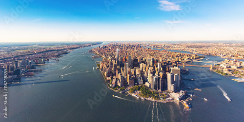 Fototapeta Aerial view of lower Manhattan New York City