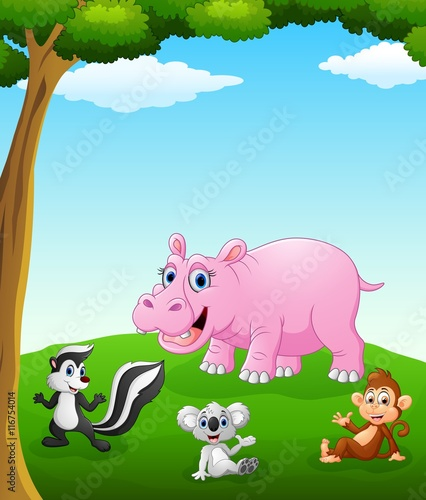 Tuinposter Vlinders Happy animals cartoon on the field