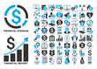 Dollar Finances Flat Vector Icons with Captions. Style is named bicolor blue and gray flat icons isolated on a white background.