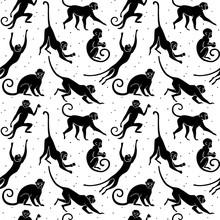 Monkey Silhouette Pattern New Year
