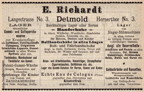 Poster Kranten E. Richardt Detmold 1889