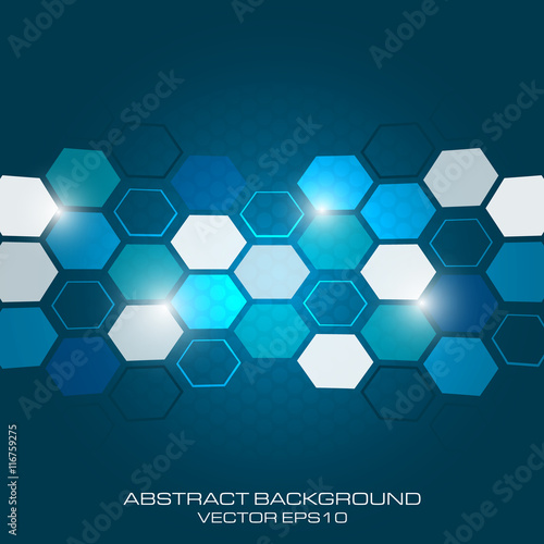 Fototapety, obrazy: Abstract business background with light effect and hexagon.