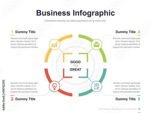 Flat business presentation vector slide template with diagram chart Poster Mural XXL
