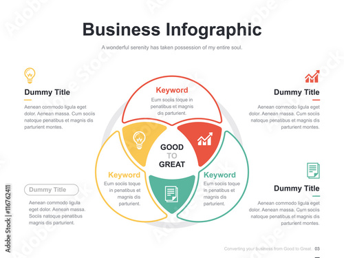 Photo  Flat business presentation vector slide template with diagram chart