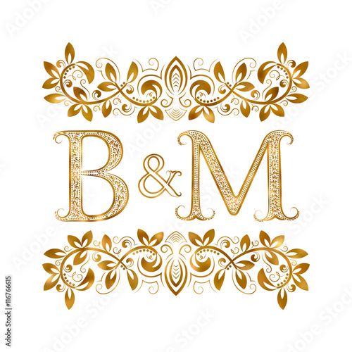 BM Vintage Initials Logo Symbol Letters B M Ampersand Surrounded Floral Ornament