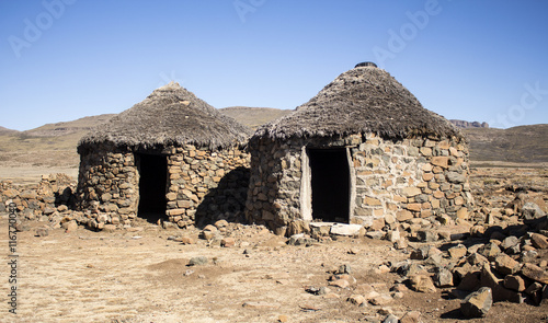 Traditional Ethnic African Houses Rondavels Made From Stones And