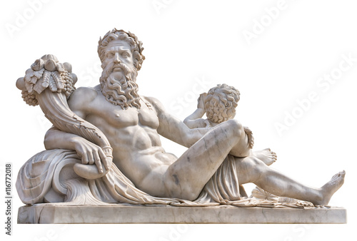 Door stickers Historic monument Marble statue of greek god with cornucopia in his hands.