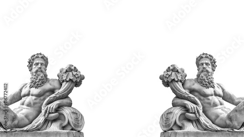 Canvas Prints Historic monument Marble statue of greek god with cornucopia in his hands.