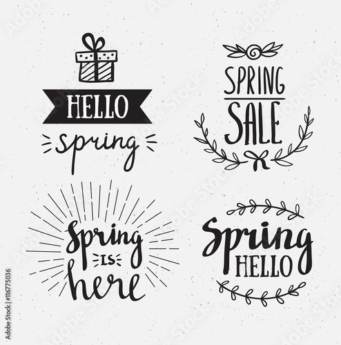 Staande foto Positive Typography Hand Drawn spring lettering. Easter Holidays lettering for invitation, sale, greeting card, prints and posters. Typographic design. Vector illustration.