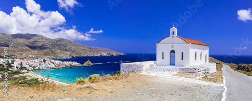 Foto op Plexiglas Donkerblauw Beautiful landscapes of Greece - Andros island, panoramic view