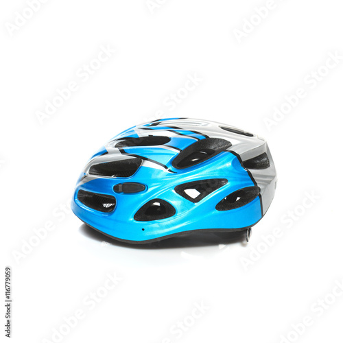 Tuinposter Snelle auto s Bicycle mountain bike safety helmet isolated