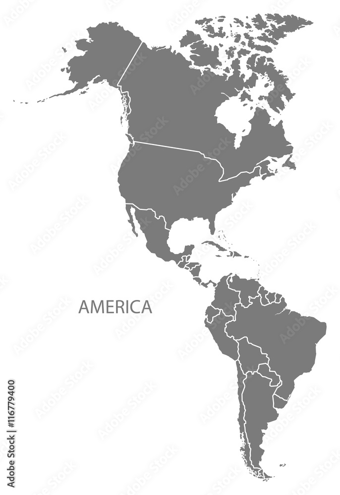 Fototapety, obrazy: America with countries Map grey