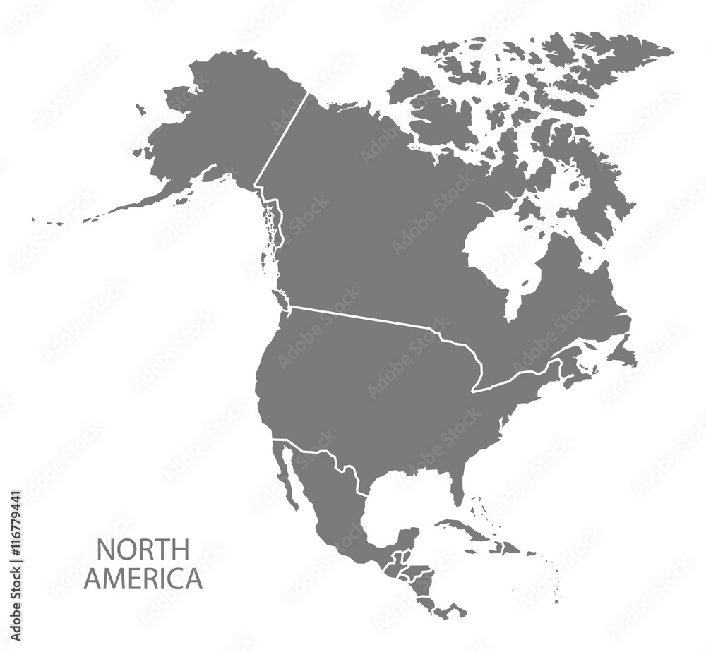 Fototapeta North America with countries Map grey