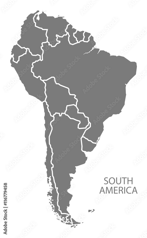 South America with countries Map grey Foto, Poster ...
