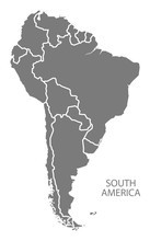 South America With Countries Map Grey