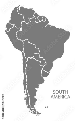Fotomural  South America with countries Map grey