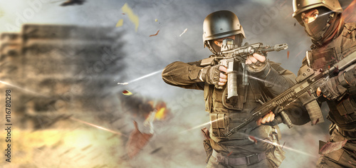 Fotomural  soldiers in full uniform with guns is going to attack.