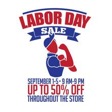 Retro Cartoon Woman Labor Day Sale Background Design. EPS10 Vector.