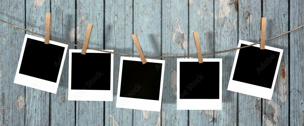 Fototapety, obrazy: five blank instant photos hanging on the clothesline