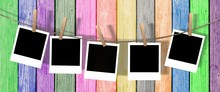Five Blank Instant Photos Hang...
