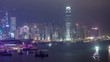 Time Lapse of the tall skyscrapers and harbor of Hong Kong.