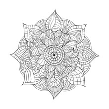 Vector Decorative Mandala For Adults Coloring Books. Ethnic Elem