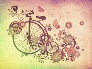 FototapetaOld Bicycle and Floral Ornament Grunge