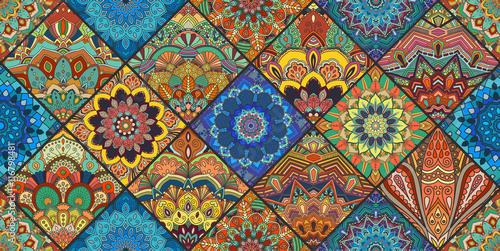Foto auf AluDibond Boho-Stil Colorful Square Boho Tiles