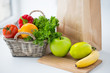 basket of fresh friuts and vegetables at kitchen