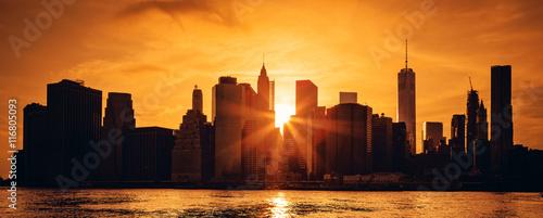 Fototapeta Manhattan midtown at sunset