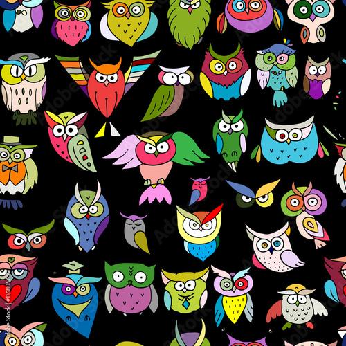 Foto op Aluminium Schepselen Funny owls, seamless pattern for your design