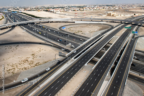 Photo  dubai town aerial view panorama of highway
