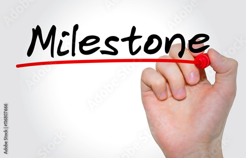 """Hand writing inscription """"Milestone"""" with marker, concept Plakat"""
