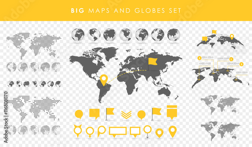 Big set of maps and globes Tablou Canvas