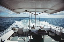 Fishing Boat Sailing On Sea