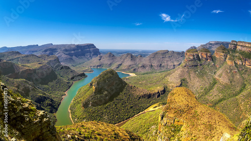 Republic of South Africa - Mpumalanga province. Blyde River Canyon (the largest green canyon in the world, fragment of the Panorama Route) and The Three Rondavels (three dolomite peaks on the right)