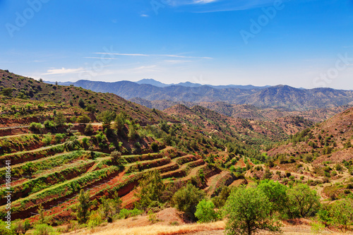 Garden Poster Cyprus Panoramic view near of Kato Lefkara - is the most famous village in the Troodos Mountains. Limassol district, Cyprus, Mediterranean Sea. Mountain landscape and sunny day.