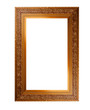 Old wooden picture frame with empty place for text or image over white background
