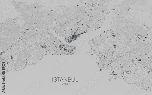 Obraz na plátně Cartina di Istanbul, vista satellitare, città, Turchia