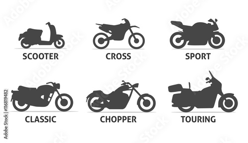Foto  Motorcycle Type and Model Objects icons Set.