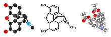 Morphine Pain Drug Molecule. Highly Addictive.