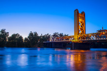 Sacramento Bridge, HDR At Night With Reflections In The Water