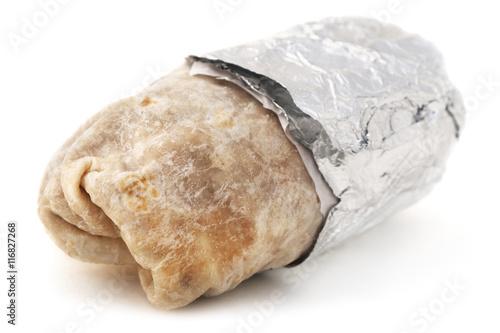Fotografía  Isolated mexican burrito on a white background.