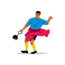 Hammer Throw. Vector Cartoon Illustration.